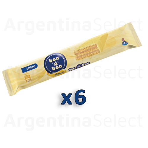Bon o Bon Oblea Snack White Chocolate Filled With Peanut Butter, 30 g / 1.05 oz (Pack of 6). Argentina Select.