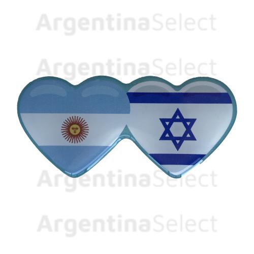 Sticker Calcomanía Resinada Corazón Argentino e Israelí de 35mm. x 75mm