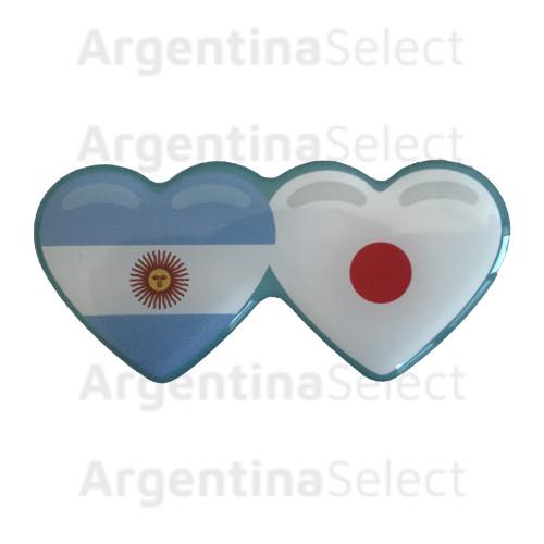 Sticker Calcomanía Resinada Corazón Argentino e Japonés de 35mm. x 75mm.