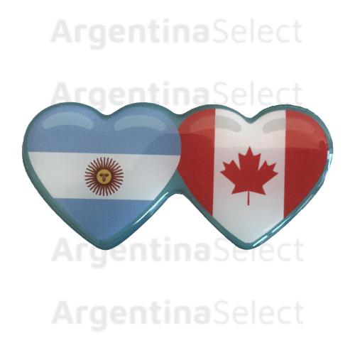 Sticker Calcomanía Resinada Corazón Argentino e Canadiense de 35mm. x 75mm.