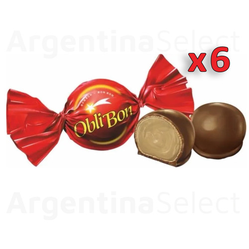 ObliBon Chocolate Bites Filled With Peanut Butter, 17 g / 0.6 oz (Pack of 6). Argentina Select.