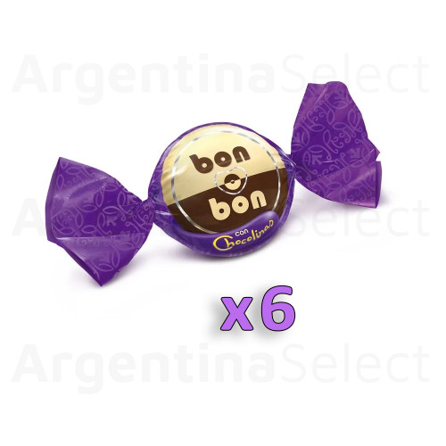 Bon o Bon Traditional Chocolate Bite Filled With Chocolinas Cookies, 15 g / 0.53 oz (Pack of 6). Argentina Select.
