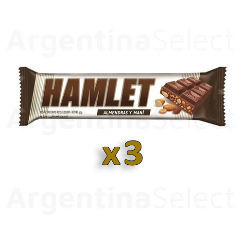 Hamlet Tableta de Chocolate con Almendras y Maní, 45 g / 1.59 oz (Pack of 3). Argentina Select.