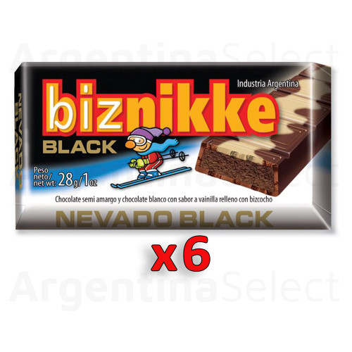 Biznikke Black Chocolate Semi Amargo Mixed Dark Chocolate & White Chocolate Filled With Biscuit, 28 g / 0.98 oz (pack of 6). Argentina Select.