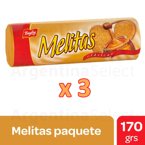 Melitas Galletitas Clasicas 170g Bagley. Pack x 3. Argentina Select.