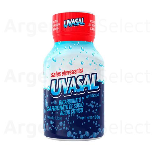 Uvasal Sales Efervescentes Antiácidas Sabor Clásico en Frasco 100 g / 3.52 oz. Argentina Select.