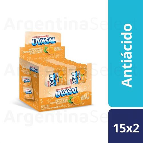 Uvasal Sales Efervescentes Antiácidas Sabor Naranja 75 g / 2.64 oz (Caja 15 Sobres de 5g. c/u). Argentina Select.