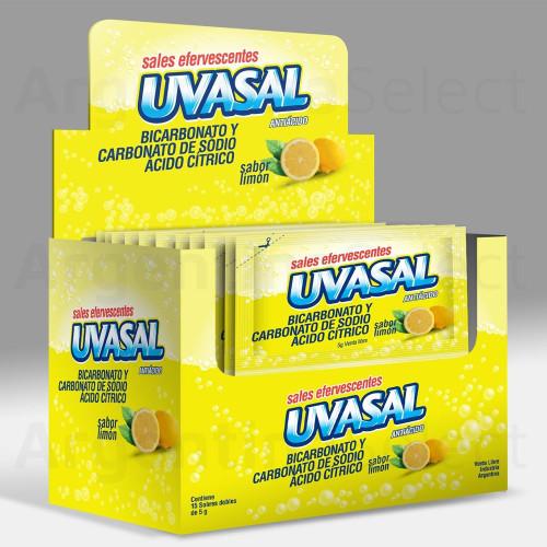 Uvasal Sales Efervescentes Antiácidas Sabor Limón 75 g / 2.64 oz (Caja 15 Sobres de 5g. c/u). Argentina Select.
