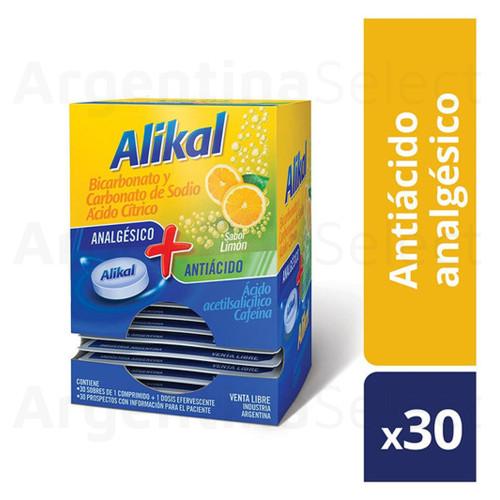 Alikal Antiácido + Analgésico Sales Esfervescentes Sabor Limón (Caja x 30 Sobres). Argentina Select.