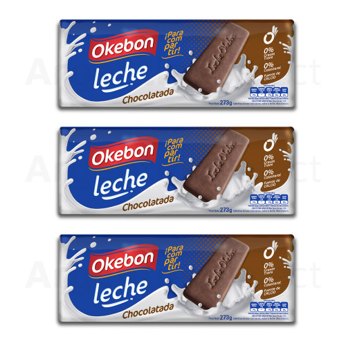 Okebon Galletitas Leche Chocolatada 273 gr. Pack x 3. Argentina Select.