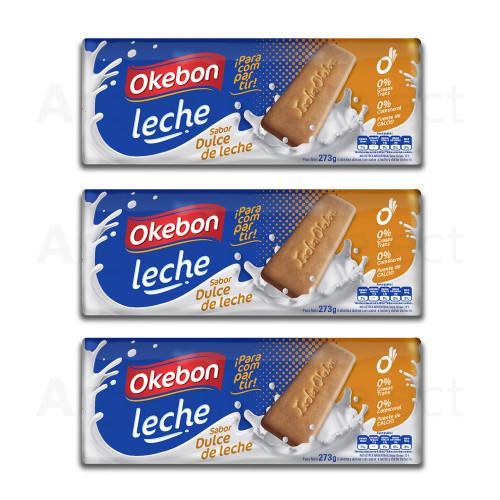 Okebon Galletitas Dulce de Leche 273 gr. Pack x 3. Argentina Select.