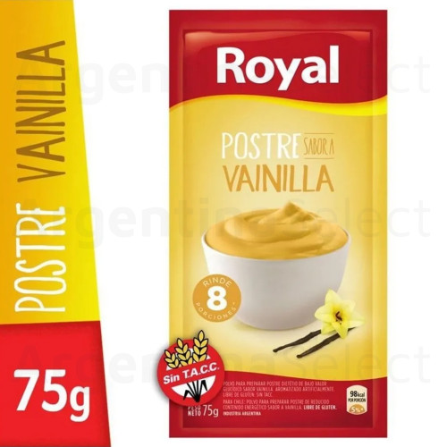 Royal Postre Vainilla Ready to Make Dessert, 8 servings per pack, 75 g / 2.64 oz. Argentina Select.