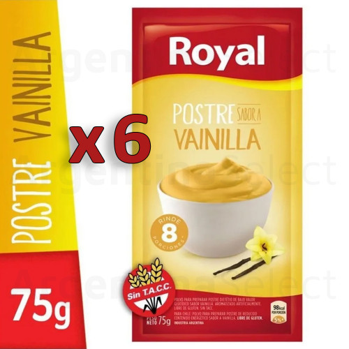 Royal Postre Vainilla Ready to Make Dessert, 8 servings per pack (75 gr). Pack x 6. Argentina Select.