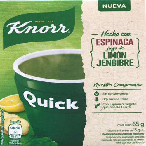 Knorr Quick Ready to Make Soup Espinaca, Limón y Jengibre, 5 pouches, 65 g/ 2.29 oz. Argentina Select.