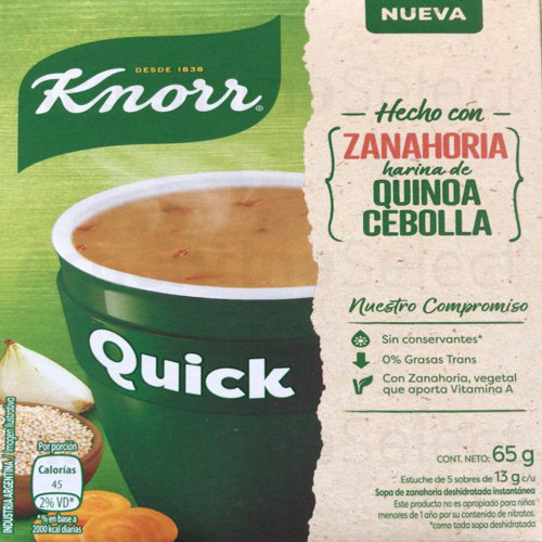 Knorr Quick Ready to Make Soup Carrot, Quinoa & Onion, 5 pouches, 65 g/ 2.29 oz. Argentina Select.