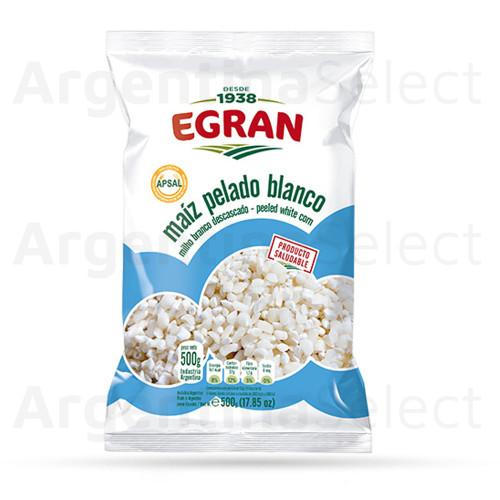 Egran Maíz Pelado Blanco para Locro, 500 gr / 17.63 oz. Argentina Select.