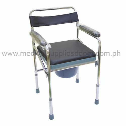 COMMODE CHAIR WITH UPHOLSTER (Black/Blue) 890A