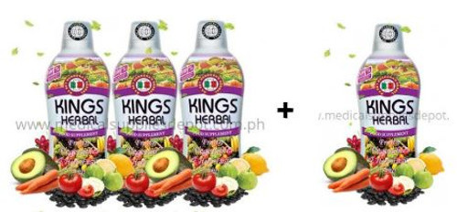 King's Herbal Fruits, Vegetables and Herbs Fusion 750m sets of 3 + 1   Kings Herbal is enriched with 100% concentrates made from 77 kinds of fruits, vegetables, and herbs. The resulting mixtures are made into a ready-to-drink formulation (herbal fusion) to prevent alteration and disintegration of nutrients. Kings Herbal helps strengthen one's immune system, therapy restores the normal function of our vital organs. Kings Herbal aides in the correction of any electrolyte imbalances and help the body return to its optimum healthy state.  BENEFITS It strengthens the immune system. The body is detoxified, stored toxins are filtered out of the system. Damaged organs repaired and restored. It normalized blood sugar levels. It normalized blood circulation. Metabolism and stamina increases. Nourishing the Nervous system It balances the ion in the body corrected and restored. It provides anti-oxidant in the body.  AGE Best for children with ages seven (7) months onwards and for adults of any age. For children (7 months old onwards) - Use a medicine dropper. Take 1 ml up to 5 ml or as recommended. For adults (any age) - Use the measuring cup provided in our product. Take 30 ml to 90 ml or as recommended.   FDA License to Operate no. RDII-RIII-F-2283 FDA Certificate of Product Registration FR No. 95265