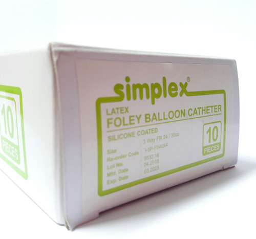 LATEX FOLEY BALLOON CATHETER SILICONE COATED 3-WAY