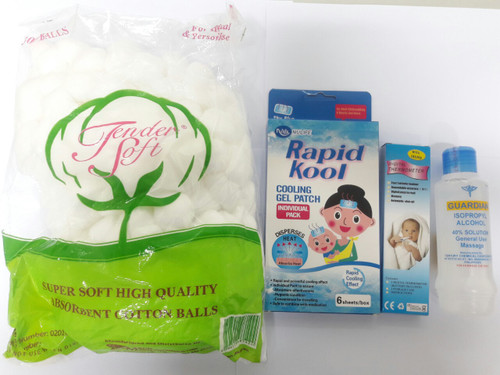 FAMILY BUNDLE SET 2 (COTTON, THERMOMETER, FEVER PATCH, ALCOHOL)