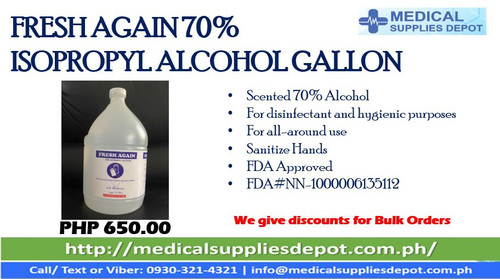 FRESH AGAIN 70% ISOPROPYL ALCOHOL GALLON