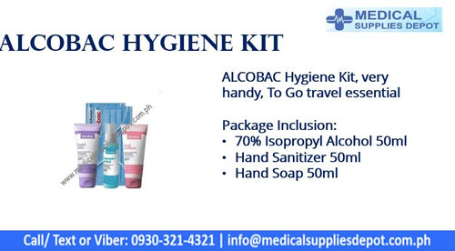 ALCOBAC HYGIENE KIT (70% ISOPROPYL ALCOHOL, HAND SANITIZER, HAND SOAP)