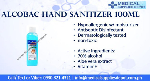ALCOBAC HYPOALLERGENIC HAND SANITIZER WITH MOISTURIZER 100ML