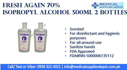 FRESH AGAIN 70% ISOPROPYL ALCOHOL 500ML SETS OF 2