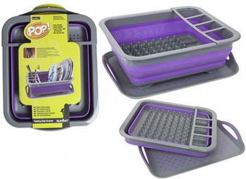Pop! Folding Dish Drainer With Non-Slip Drip Tray