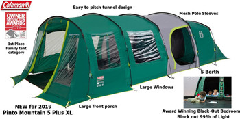 Coleman Pinto Mountain 5 Plus XL  - With Award Winning Black -Out Bedrooms
