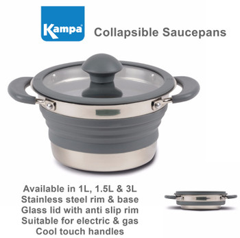 Kampa Folding Saucepan - 3 Sizes Available