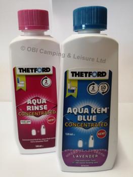 Thetford Aqua Kem Mini Twin Pack -  Aqua Kem Lavender Mini 120ml/Aqua Rinse Mini 100ml