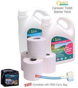 Quest Toilet Chemical Caravan/Camping Starter Pack - All in a Handy Carry Bag