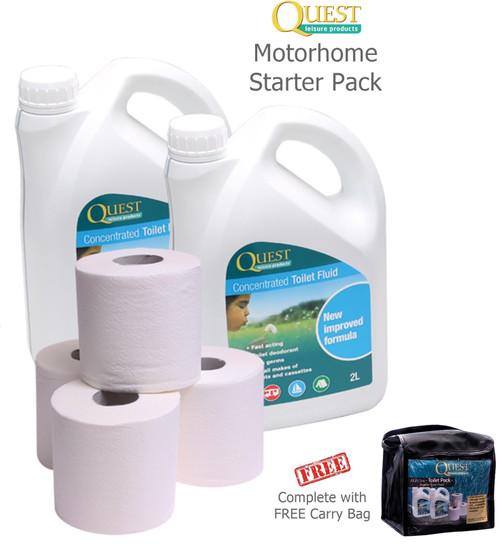 Quest Toilet Chemical Motorhome Starter Pack - All in a Handy Carry Bag