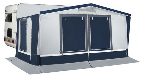 The two front panels and one of the side panels are equipped with curtains on the interior, and PVC shutters with zippers on the exterior to completely close the awning. The other side panel has mosquito netting and exterior shutters. All these panels can be removed to use the awning as a sun canopy for example, with or without side walls. It is possible to add annexes onto the sides of the Montreux.