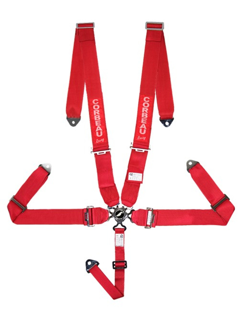 3-Inch 5-Point Harness Belts - Camlock - Red