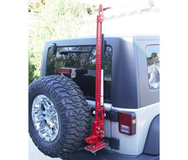 "Rampage new JK Wrangler Hi Lift Jack mount lets you install the jack to the JK tailgate hinges with minimal drilling. Will fit with a 35"" tire without modifications. If used with spare tire extenders or aftermarket heavy duty tailgate tire carriers you can fit up to a 37"" tire with the jack. Will not work with Swing away tire carriers. Hardware included to mount brackets to hinges. *Optional lock available for the jack mount #86613. Available lock kit (sold separately)."