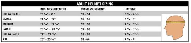 Helmet Size Chart at www.RenoOffRoad.com Reno Off-Road
