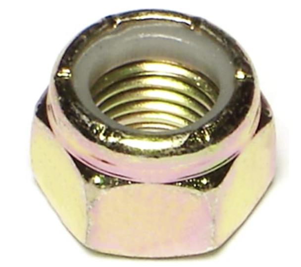 Grade 8 Fine Thread Lock Nut | 9/16-18 | Gold Zink Plates