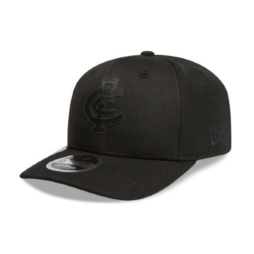 Carlton New Era Black on Black 9FIFTY Pre-Curved Snapback