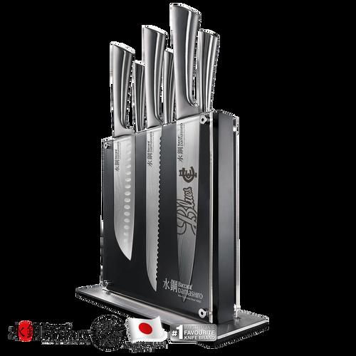 Carlton Baccarat Damashiro Kin 7-Piece Knife Block