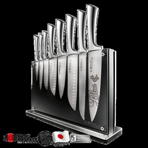Carlton Baccarat Damashiro Nami 9-Piece Knife Block