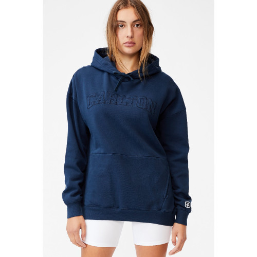 Carlton Cotton On Womens Embroidered Pocket Hoodie