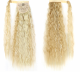Textured or Straight Wrap Around Clip In Ponytail Hair Extension Heat Resistant Synthetic Pony Tail