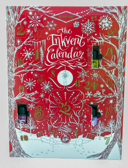 The Diamine 2021 Inkvent Calendar contains 25 bottles of fountain pen for the Christmas holidays countdown.  Each calendar hold 24 bottles of 12mL ink and 1 bottle of 30mL ink.  The product is made in the U. K.  *PLEASE NOTE:  SHIPMENT OF THE 2021 DIAMINE INKVENT CALENDAR WILL BEGIN ON OCTOBER 1st, 2021.*