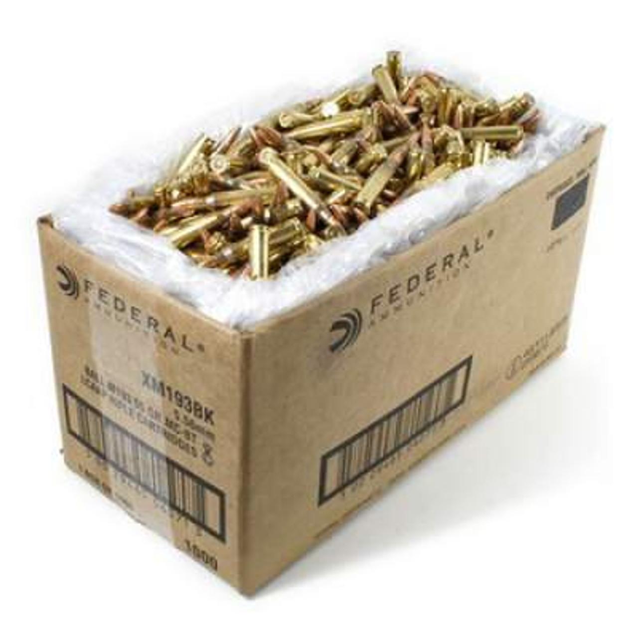 Federal 5 56x45mm NATO Ammunition XM193BK 55 gr FMJ Bulk 1000 rounds