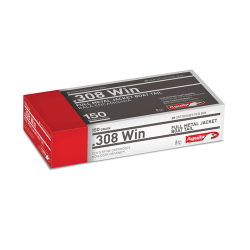 Aguila 308 Win Ammunition 1E308110 150 Grain Full Metal Jacket Boat Tail Case of 500 Rounds