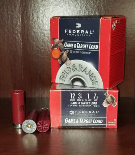 "Federal 12 Gauge Ammunition Field & Range FRL1275 2-3/4"" 7.5 Shot 1oz 1290fps Case of 250 Rounds"