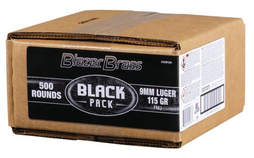 CCI 9mm Ammunition Blazer Brass Black Pack 5200BF500 115 Grain Full Metal Jacket Bulk Pack of 500 Rounds