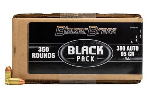CCI Blazer Brass 380 Auto Ammunition Black Pack 5202BF350 95 Grain Full Metal Jacket Bulk Pack of 350 Rounds